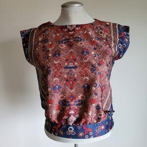 Vtg blue brown floral print 80s blouse